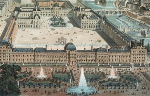 '图2曾经的杜伊勒里王宫(前面一整排宫殿)外观,现已不存在'